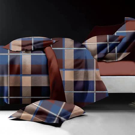 【原色布屋】時尚格紋 舒柔棉加大四件式兩用被床包