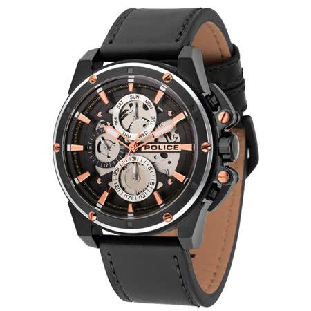 POLICE  機械之心三眼腕錶-14688JSBS-02