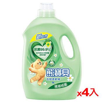 熊寶貝衣物柔軟精茶樹抗菌3L*4瓶(箱)