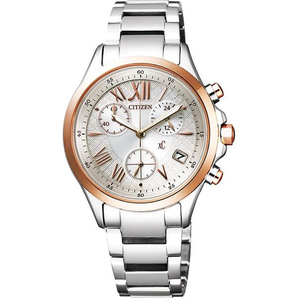 CITIZEN xC 光動能羅馬戀人計時腕錶~銀x玫瑰金32mm FB1404~51A