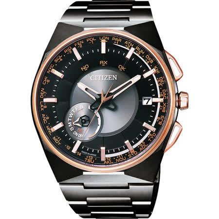 CITIZEN 星辰 鈦衛星對時光動能錶-黑x玫瑰金/44mm CC2004-59E