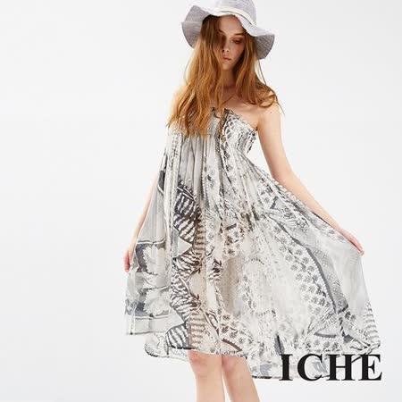 ICHE 衣哲 復古印花平口造型洋裝