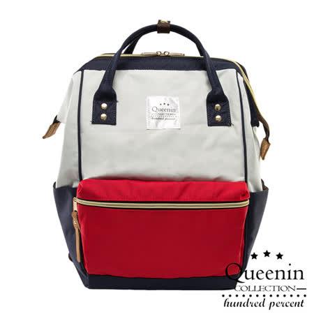 DF Queenin日韓 - 日本熱銷寬口大容量手提後背包-白藍紅