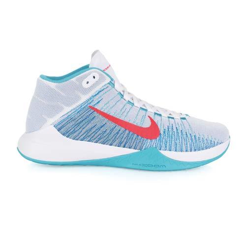 ^(男^) NIKE ZOOM ASCENTION 籃球鞋~ 高筒 白水藍