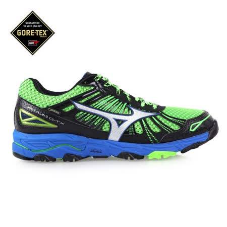 (男) MIZUNO MUJIN 3G-TX慢跑鞋- 越野 GORE-TEX 黑綠藍