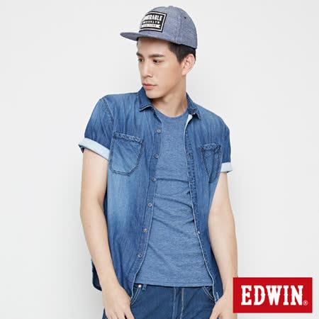 EDWIN 雙貼袋牛仔短袖襯衫-男-拔洗藍