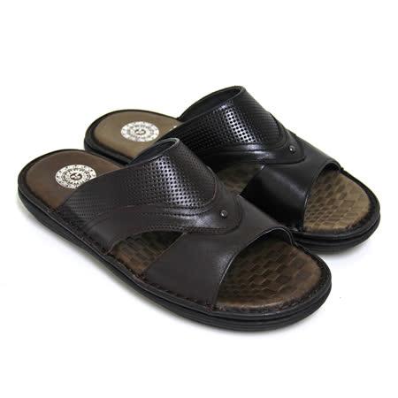【GREEN PHOENIX】簡單穩重密集孔洞鏤空全真皮平底拖鞋(男款)