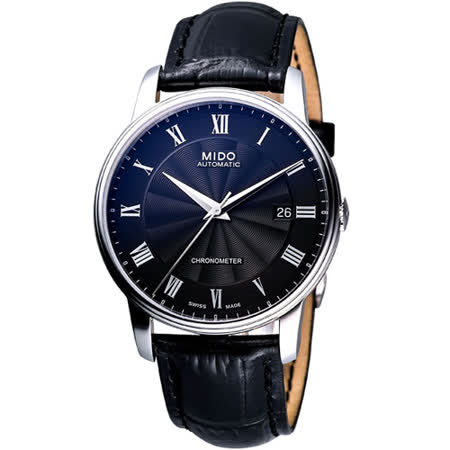 MIDO 羅馬經典天文台認證機械腕錶-黑/42mm M0104081605320