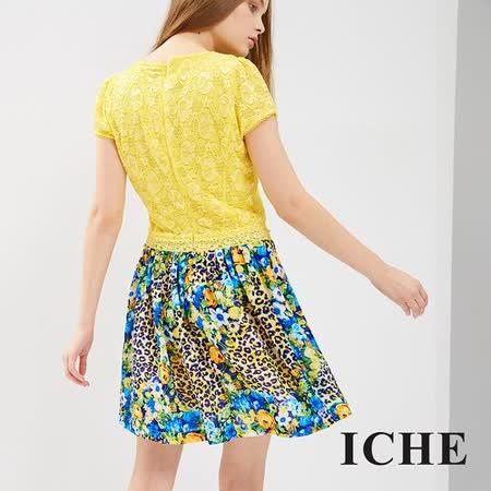 ICHE 衣哲 3D雕花豹紋拼接洋裝
