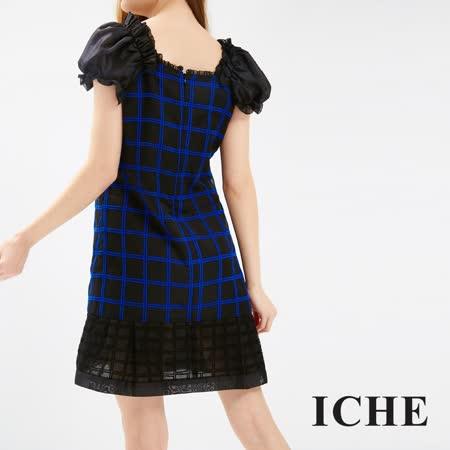 ICHE 衣哲 簡約格紋拼接洋裝
