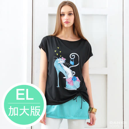 岱妮蠶絲 - 幸運貓內搭假兩件短袖上衣(加大EL)