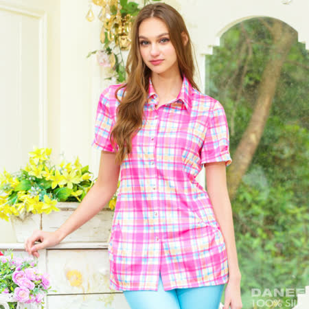 岱妮蠶絲 - 英倫流行襯衫領短袖上衣