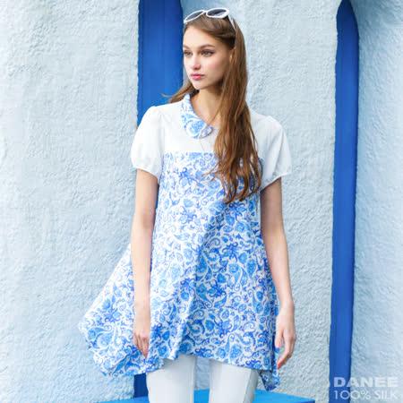岱妮蠶絲 - 品牌流行梯形下擺短袖上衣