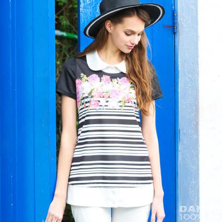 岱妮蠶絲 - 花園美流行假兩件短袖上衣