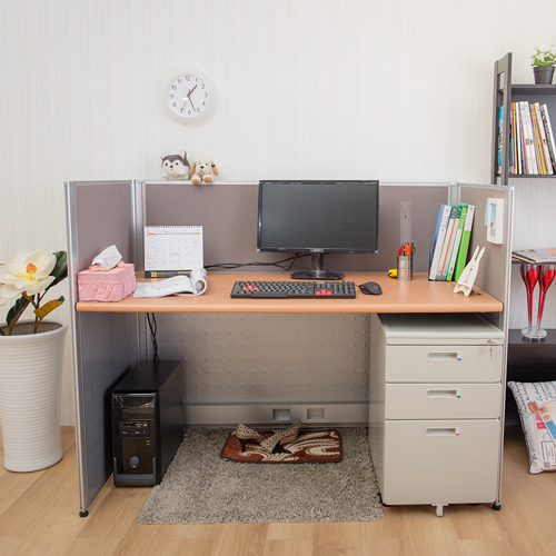 【AS】達倫屏風木紋辦公桌櫃組-寬160x深70x高103cm