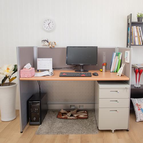 【AS】狄克屏風木紋辦公桌櫃組-寬120x深70x高113cm