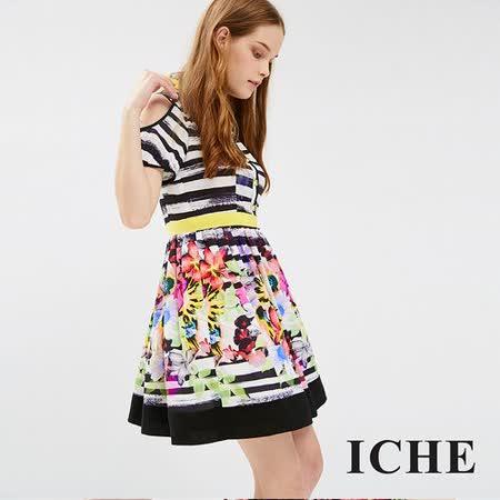 ICHE 衣哲 刷色條紋花朵印花洋裝