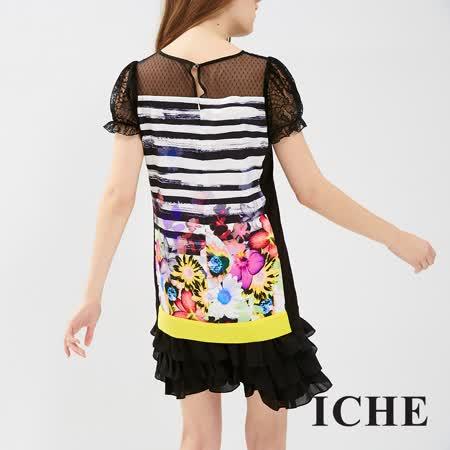 ICHE 衣哲 刷色條紋花朵印花拼接洋裝