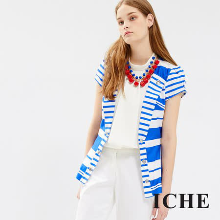 ICHE 衣哲 藍白條紋中長版短袖外套