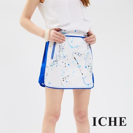 ICHE 衣哲 潑墨修身造型短裙