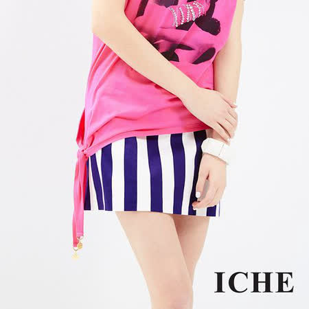 ICHE 衣哲 深藍白直條紋造型短裙