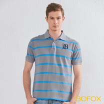 BOFOX 字母刺繡條紋POLO衫-灰藍