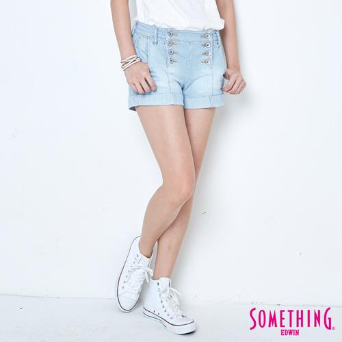 SOMETHING 條紋雙排釦牛仔短褲~女~重漂藍