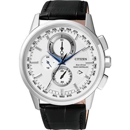 CITIZEN Eco-Drive 萬年曆電波腕錶-銀/43mm AT8110-11A