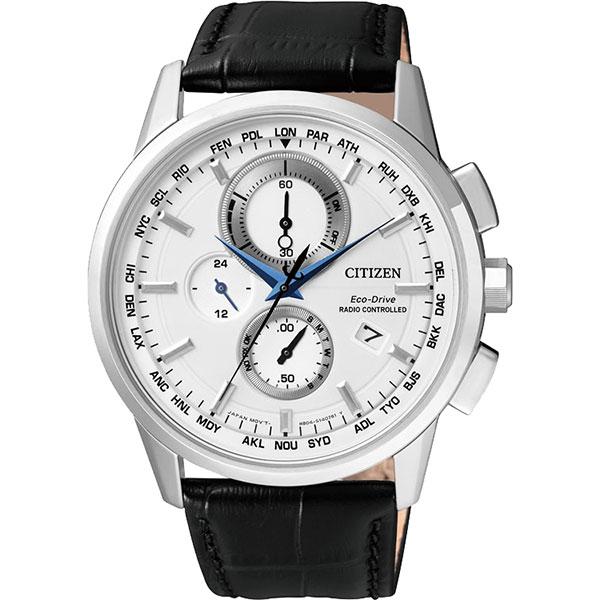 CITIZEN Eco~Drive 萬年曆電波腕錶~銀43mm AT8110~11A