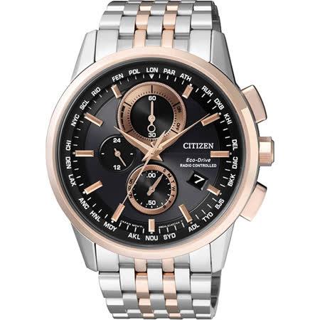CITIZEN Eco-Drive 萬年曆電波腕錶-黑/43mm AT8116-65E