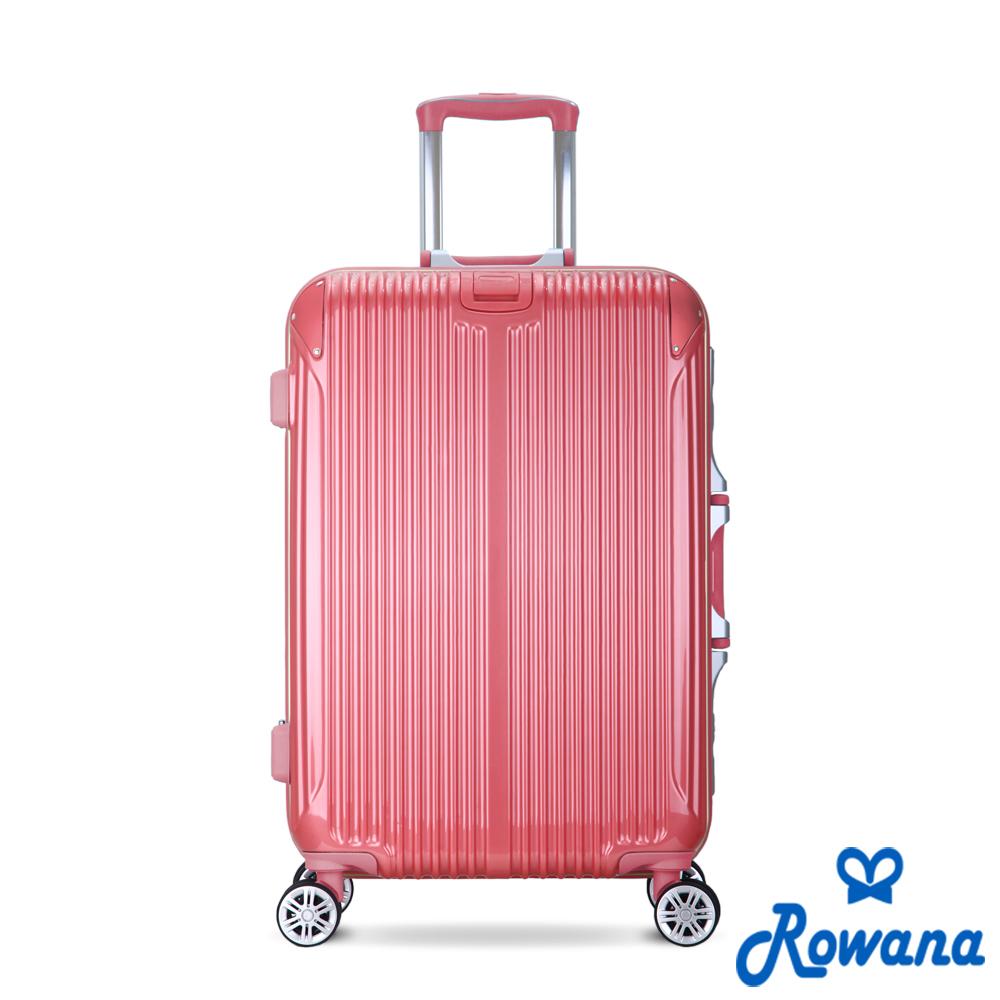 Rowana 金屬華麗杯架PC鋁框行李箱 25+29吋(粉桃紅)