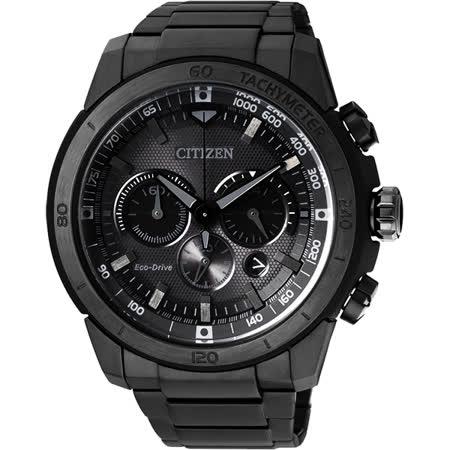 CITIZEN ECO-Drive世紀光動能計時腕錶-黑/46mm CA4184-81E