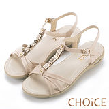 CHOiCE 舒適親膚羊皮 鑽飾串鍊T字氣墊涼鞋-米色
