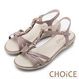 CHOiCE 舒適親膚羊皮 鑽飾串鍊T字氣墊涼鞋-紫色