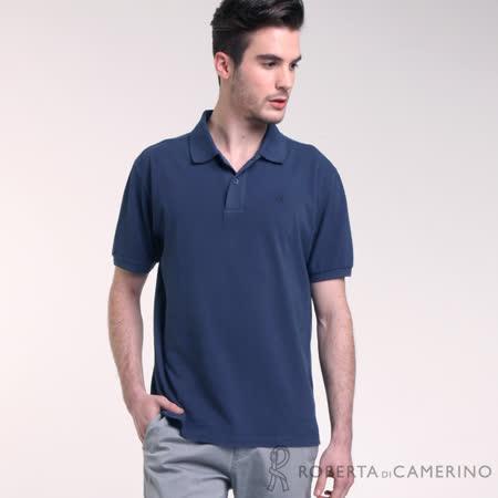 ROBERTA諾貝達 台灣製 純棉 型男必備 素面短袖POLO衫 深藍