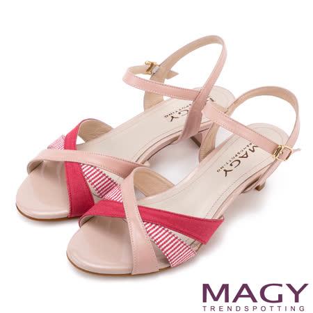 MAGY 甜美時尚款 異材質拼接條紋低跟涼鞋-粉紅