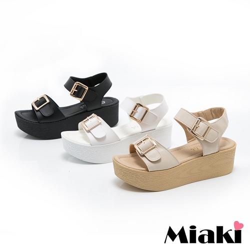 ~Miaki~MIT 涼鞋韓系扣環休閒露趾厚底涼拖 ^(白色 黑色 米色^)