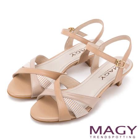 MAGY 甜美時尚款 異材質拼接條紋低跟涼鞋-棕色