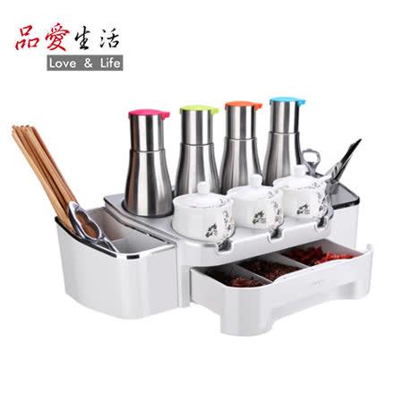 【品愛生活】COOKTIME系列多功能廚房調味置物架(贈4個調味瓶、3個調味罐)