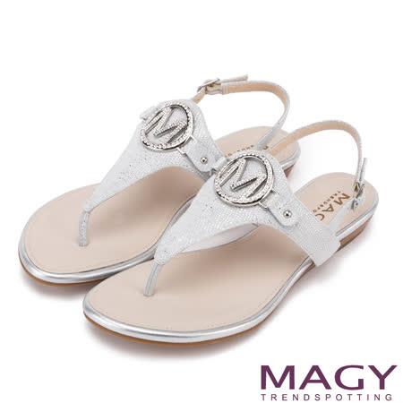 MAGY 異國渡假風 羊皮壓金柏T字踝帶涼鞋-銀色