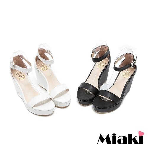 ~Miaki~MIT 涼鞋韓式簡約一字坡跟涼拖 ^(白色 黑色^)