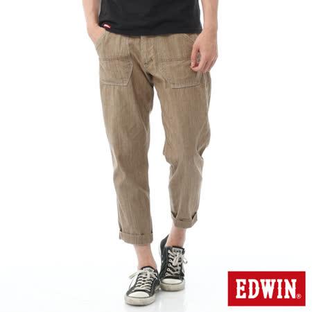 EDWIN EASY PANTS 七分休閒褲-男-淺卡其