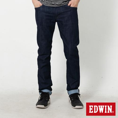 EDWIN 大 EDGE LINE 麂皮芽邊小直筒牛仔褲~男~原藍色