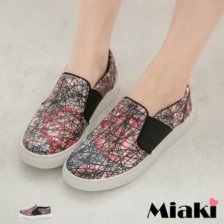 【Miaki】MIT 懶人鞋韓系街頭潮流平底休閒懶人包鞋 (花布)