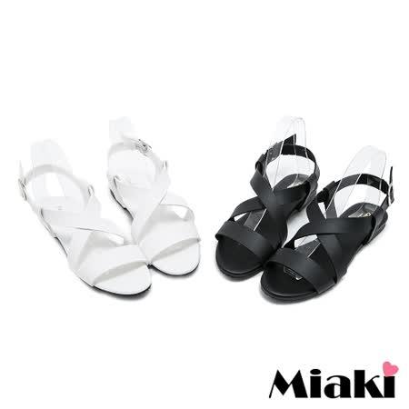 【Miaki】MIT 涼鞋首爾多層次交叉素面平底涼拖 (白色 / 黑色)