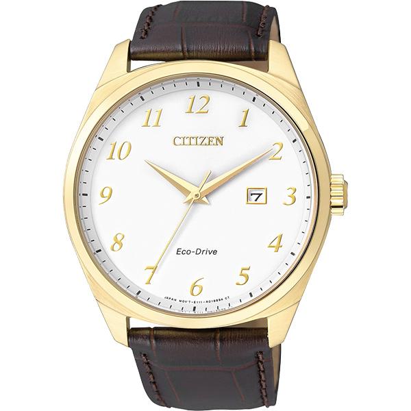 CITIZEN Eco~Drive 光動能 簡約腕錶~金框x咖啡42mm BM7322~0