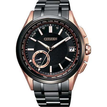 CITIZEN GPS光動能衛星對時鈦限量錶-黑x玫瑰金/43mm CC3014-50E