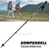 【KOMPERDELL 奧地利】C3 CARBON POWERLOCK 碳纖維強力鎖定 泡棉短握把健行登山杖(僅210g.140cm)/單支銷售 1752315-10