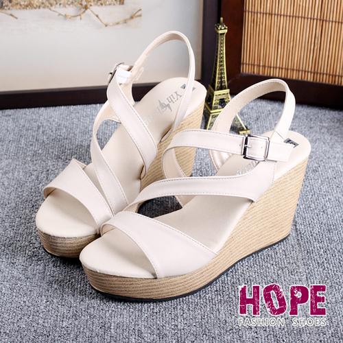 ~HOPE~優雅斜環帶楔型厚底涼鞋~米~K122EF5014~