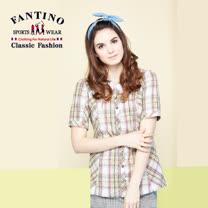 【FANTINO】女款甜美格紋短袖襯衫 574101